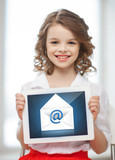 girl with tablet pc and envelope icon