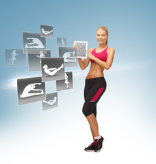 woman with tablet pc and virtual application
