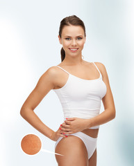 woman with magnifier showing cellulite