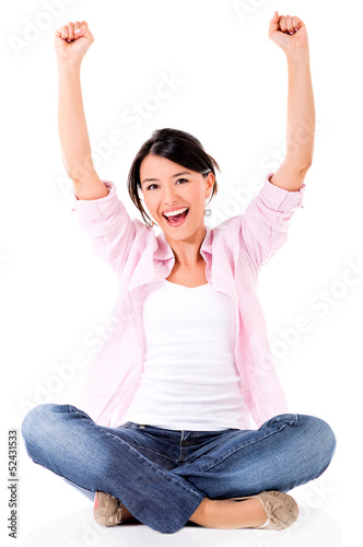 Successful woman with arms up