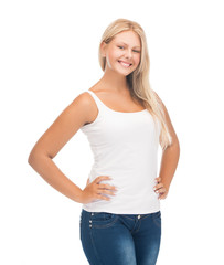 teenager girl in blank white t-shirt
