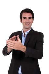 man applauding