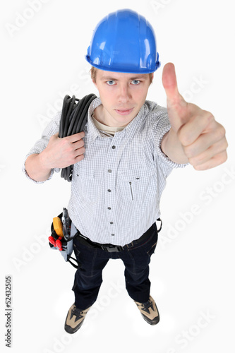 An electrician giving the thumb up.