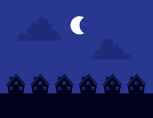 Houses Silhouettes at night with moon