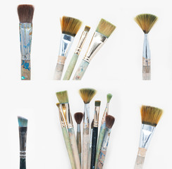 Old dirty brush set