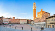 Panoramic view of Piazza del Campo in Siena at sunset, Tuscany