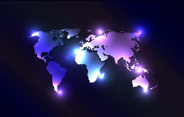 Vector worldmap with laser lights.