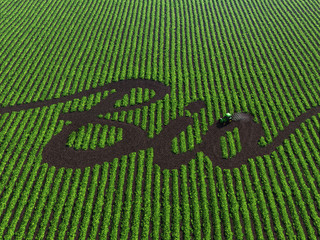 word bio on the cultivated land