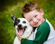 Child lovingly embraces his pet dog, a blue heeler - 52434114