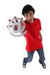 Teenage boy holding at symbol