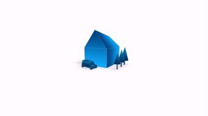 Animation eines faltenden Hauses - Imobilien Logo