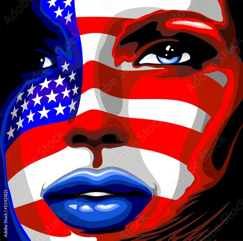 Usa Flag on Girl's Portrait-Bandiera Stati Uniti su Viso Donna