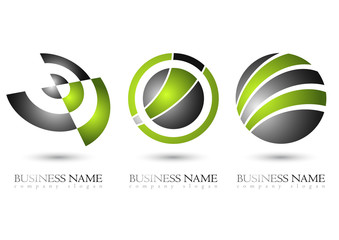 Business logo 3D glossy green metal design