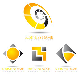 Business logo 3D gold spiral