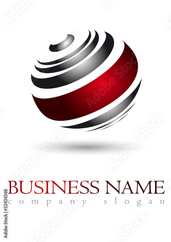 Business logo 3D red sphere design