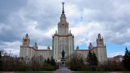 Moscow State University building in Moscow , timelapse