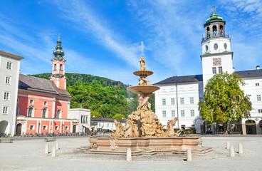 Residenzplatz with famous Residenzbrunnen in Salzburg, Austria