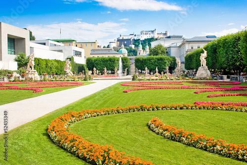 Mirabell Gardens and Fortress Hohensalzburg in Salzburg, Austria