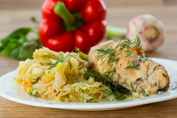 braised cabbage with meat rabbit