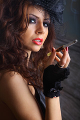 Glamour girl smoking