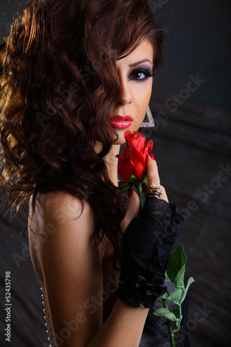 sexy girl with red rose