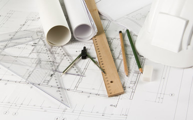 Engineering drawing tools on blueprints