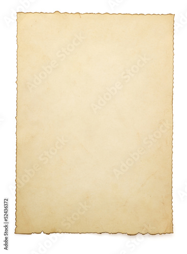 aged paper isolated on white