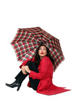 Beautiful woman with red coat and umbrella