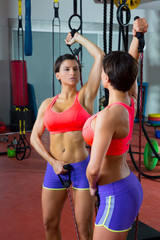 Crossfit fitness jumprope woman looking at mirror
