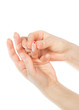 Diabetes hand prick finger blood specimens
