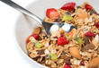 Muesli cereals bowl and spoon with almond, pine nuts