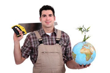 A carpenter promoting ecology.