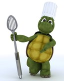 tortoise chef with slotted spoon