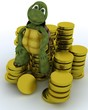 tortoise sat on gold coins