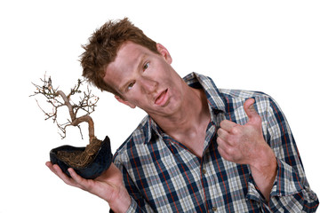 Man with bonsai
