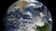 Nicaragua flag on pole on earth globe animation