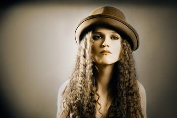 Fashion woman in hat model headwear