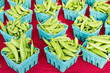 Boxes of fresh peas at the market