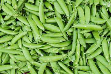 Fresh green peas at the market