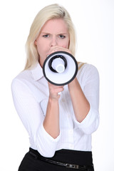 Blond woman with megaphone