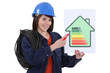 Woman pointing at energy rating poster