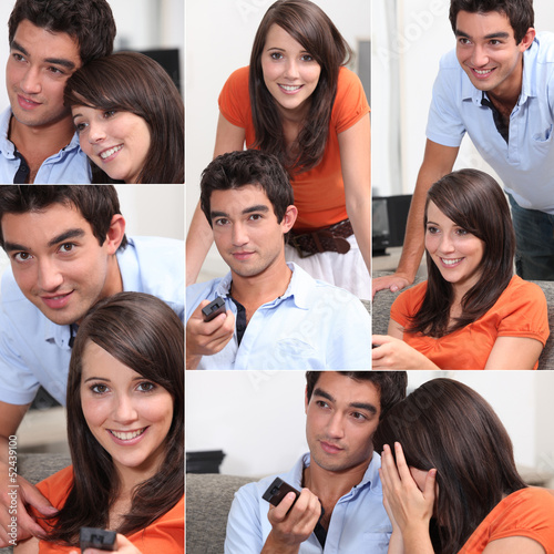 Various shots of a couple watching television