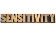 sensitivity word in wood type