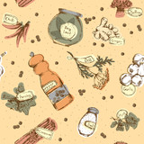 Seamless pattern of spices and herbs