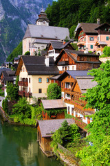 Traditional wooden houses of the Austrian village of Hallstatt
