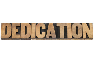 dedication word in wood type
