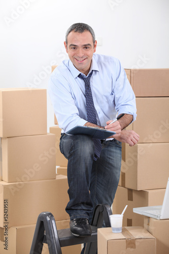 Man preparing to move