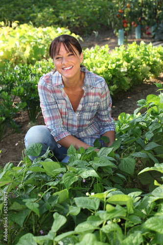 Woman in a vegetable patch