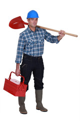 Handyman setting off to work