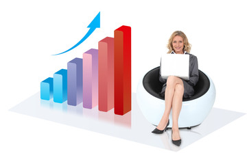 Woman enjoying an upwards graph